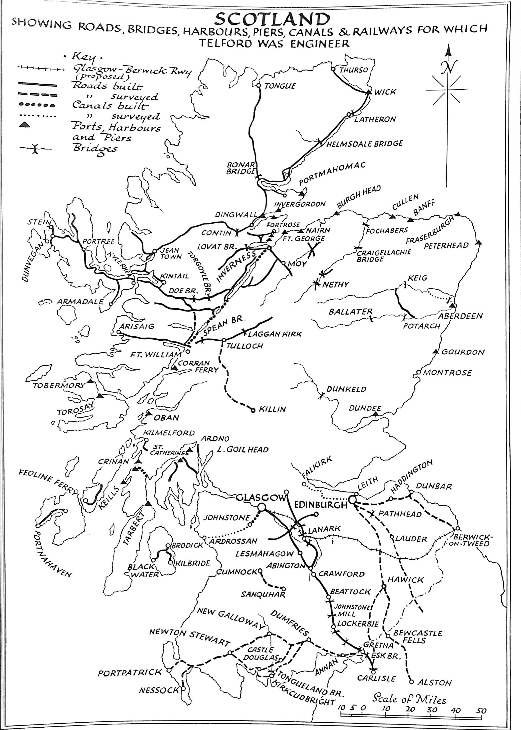 Map of Scotland Showing Roads, Bridges, Harbours, Piers, Canals & Railways for Which Telford Was Engineer