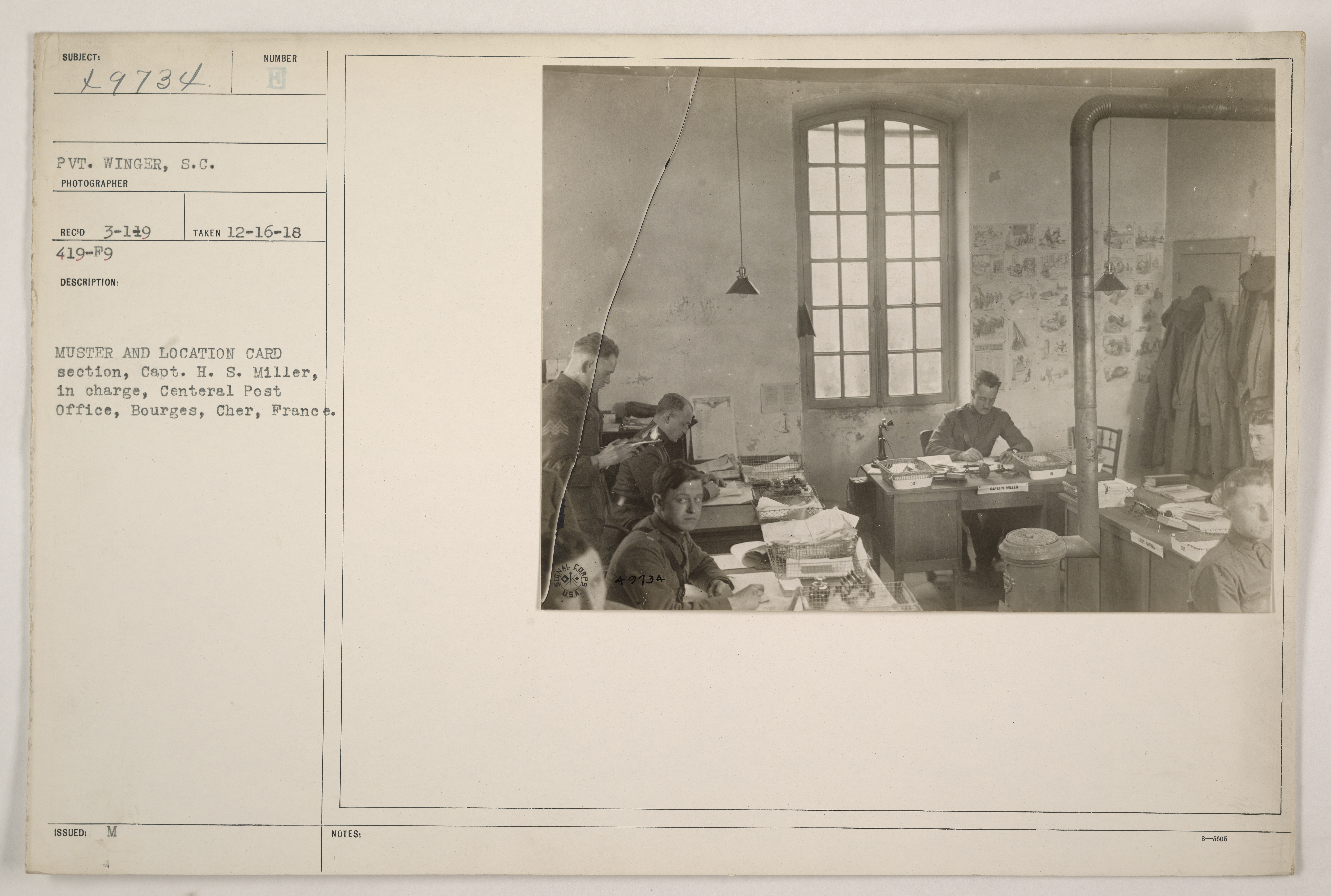 Muster and location card section, Capt. H.S. Miller in charge, Central Post Office, Bourges, Cher, France