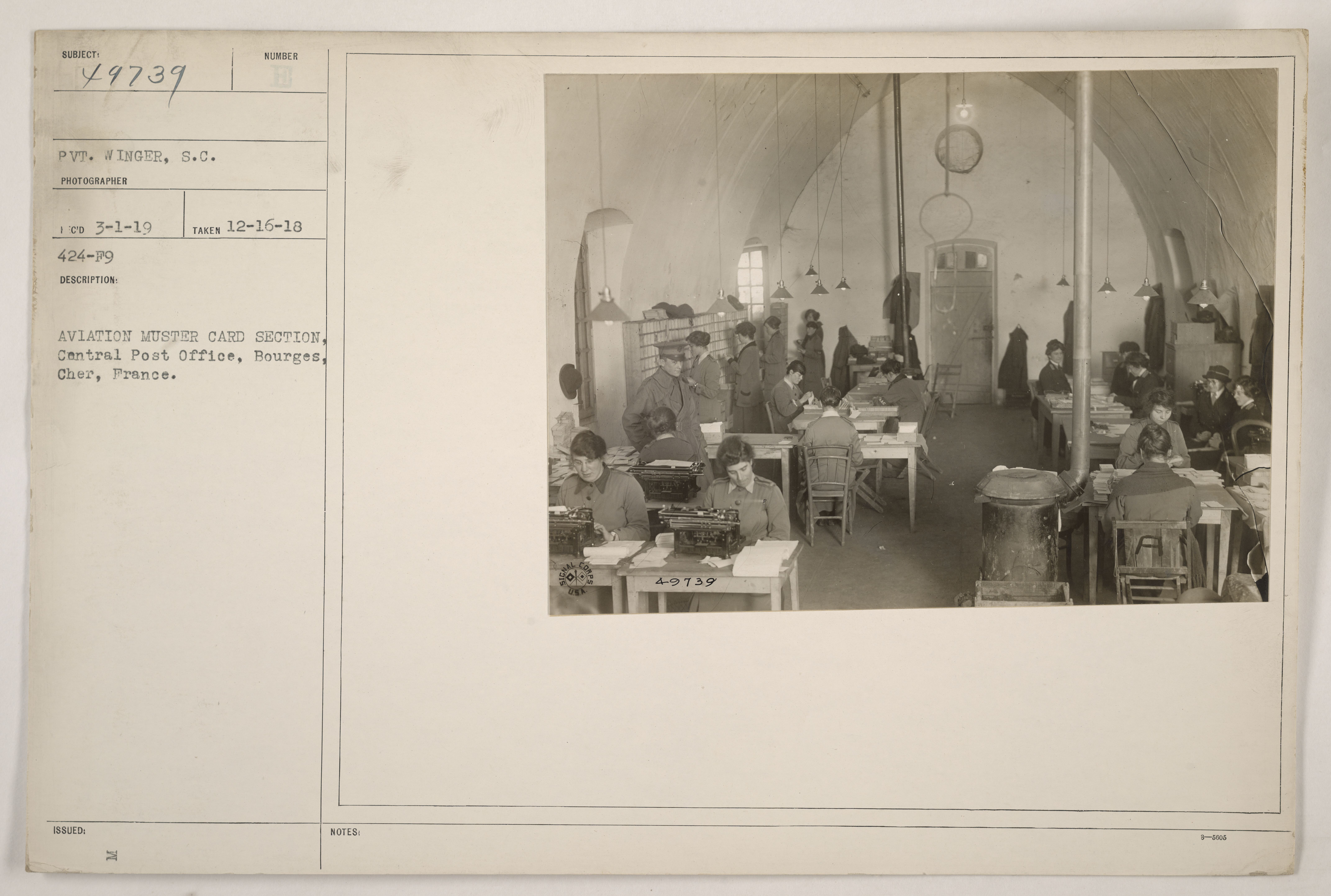 Aviation muster card section, Central Post Office, Bourges, Cher, France