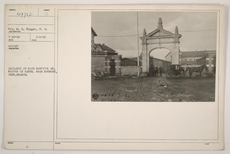 Entrance at base hospital #9, Maison de Sante. Near Bourges, Cher, France