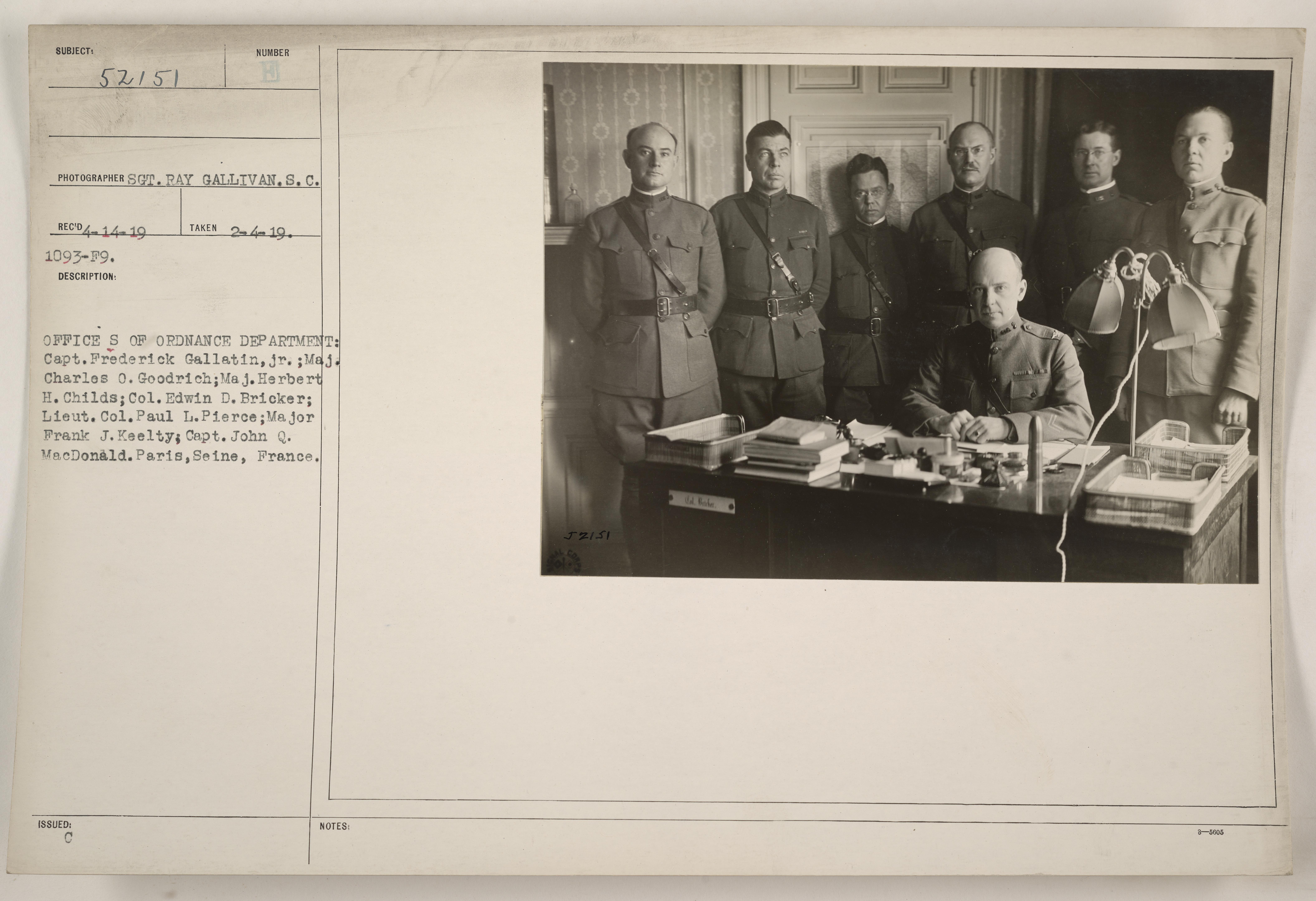 Officers of Ordnance Department (names in caption). Paris, Seine, France