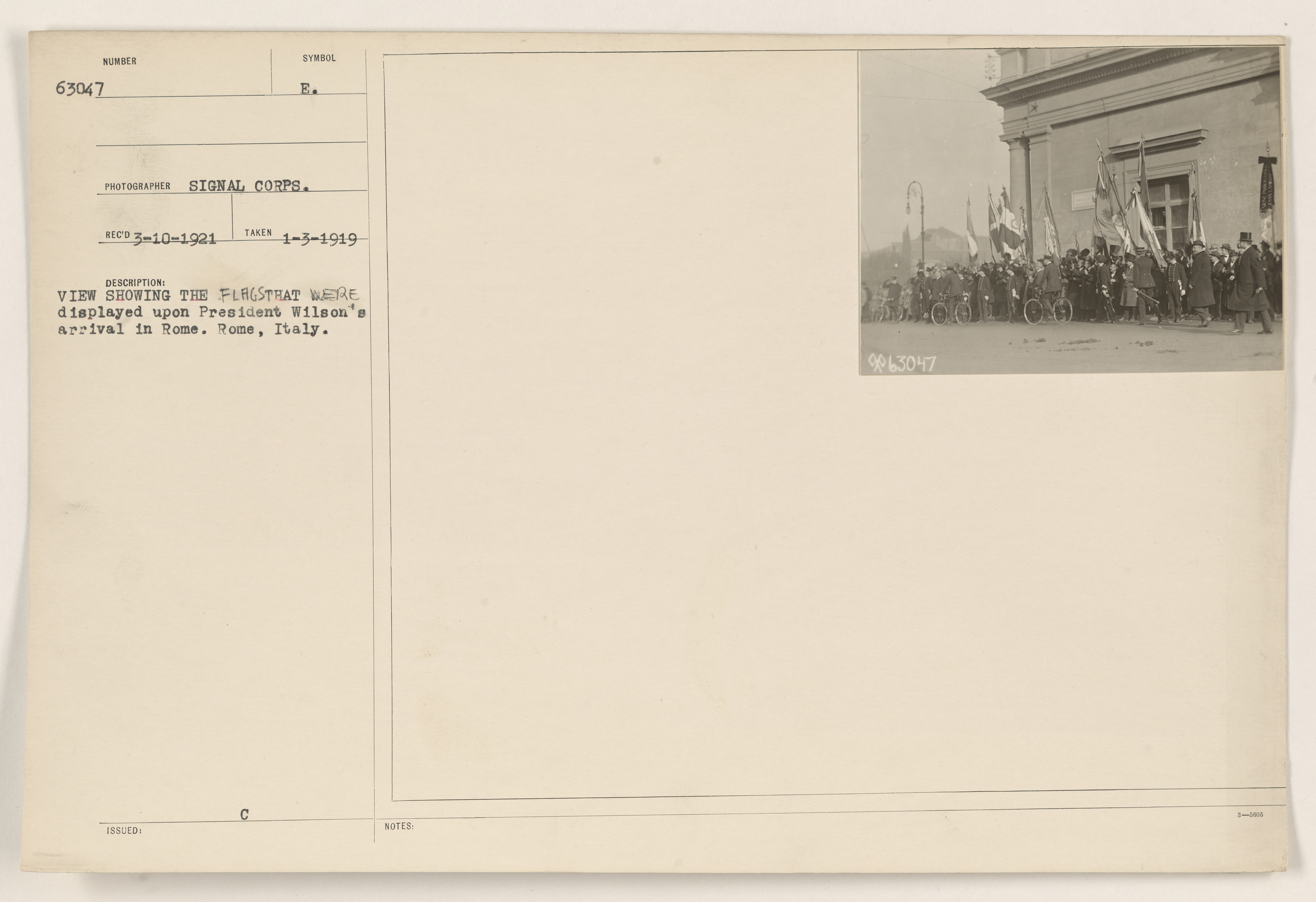 VIEW SHOWING THE FLAGS THAT WERE displayed upon President Wilson's arrival in Rome, Rome, Italy