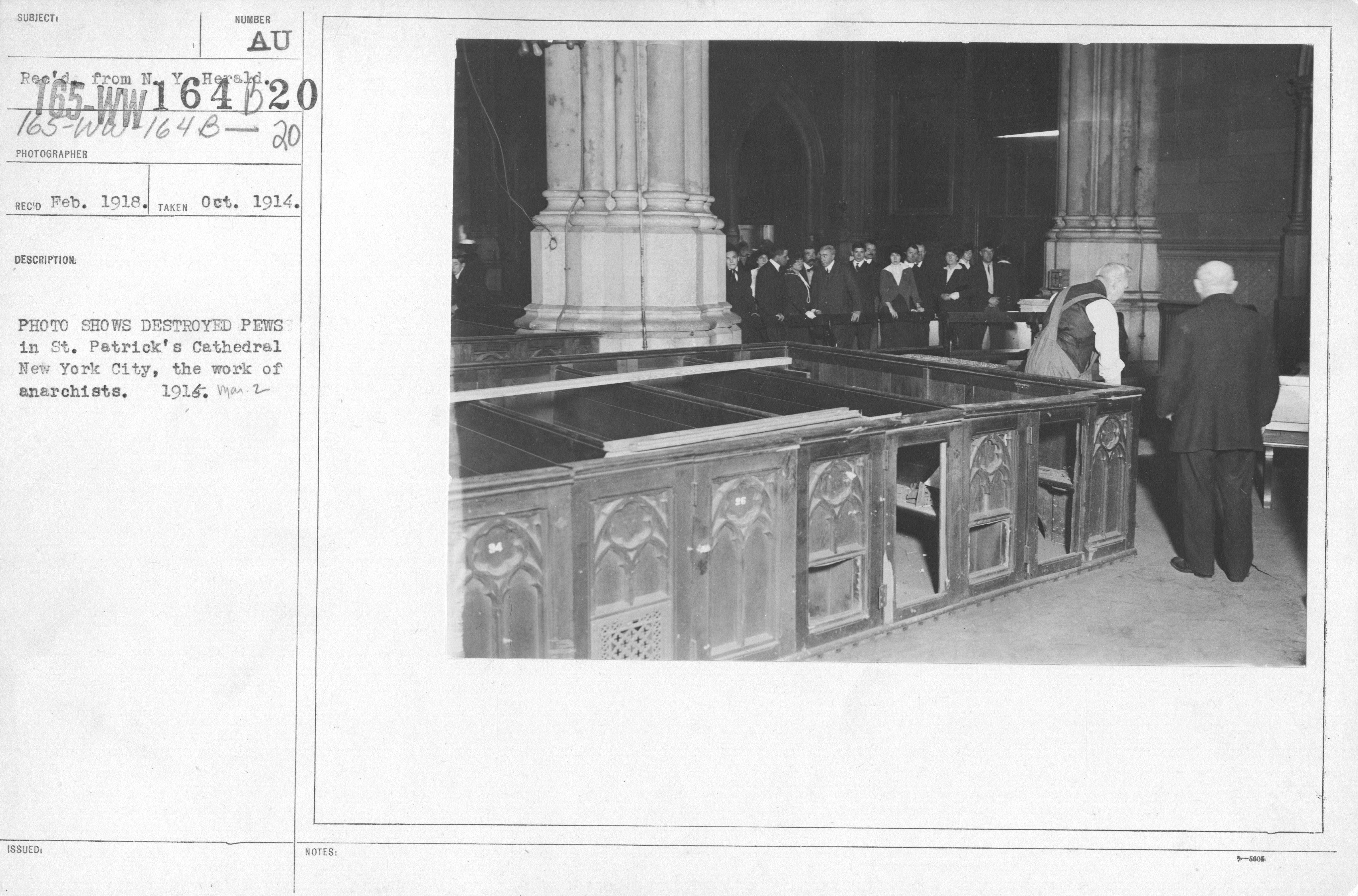 Photo Shows Destroyed Pews in St. Patrick's Cathedral