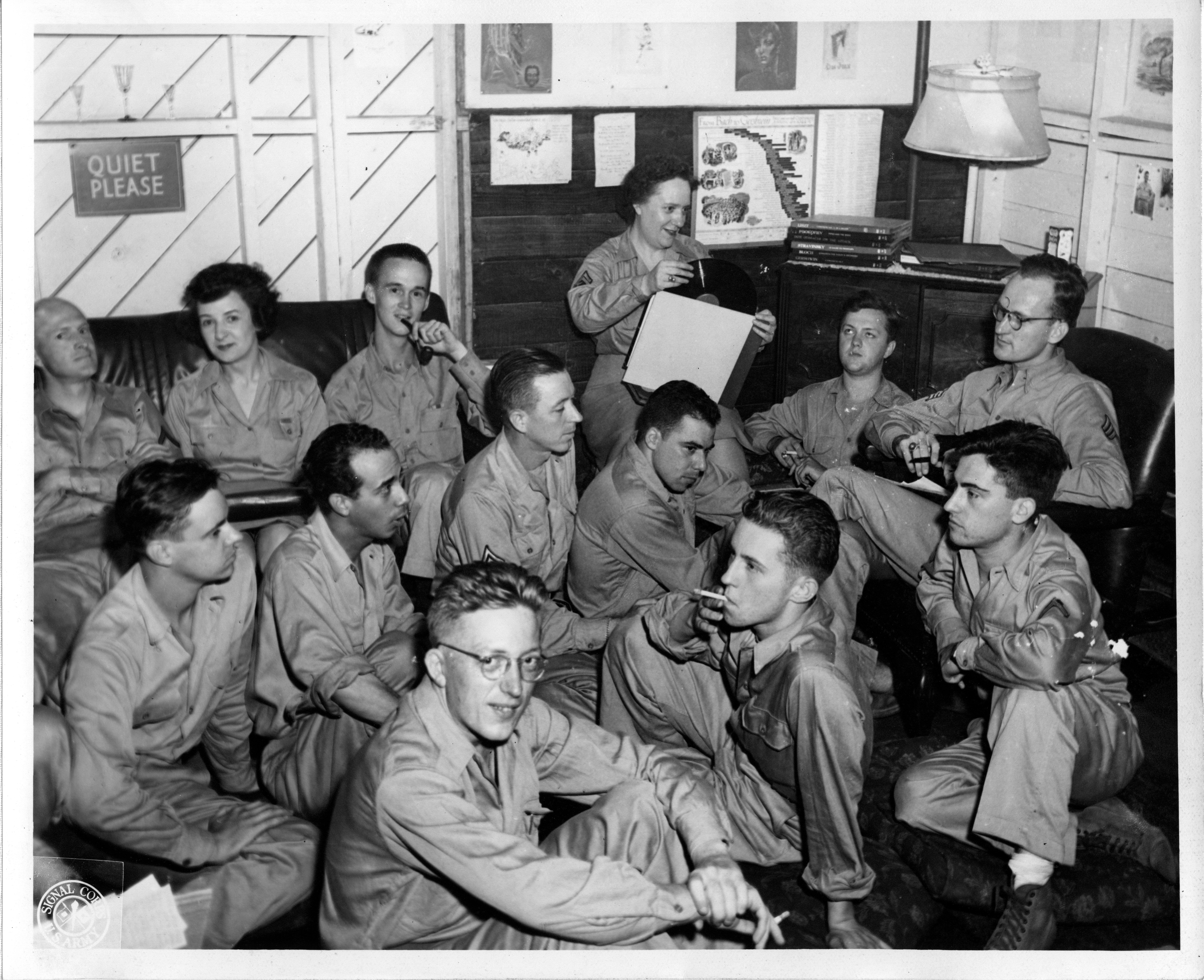 "Listening to Records in Service Club ""D"" Music Room, 7/7/1944"