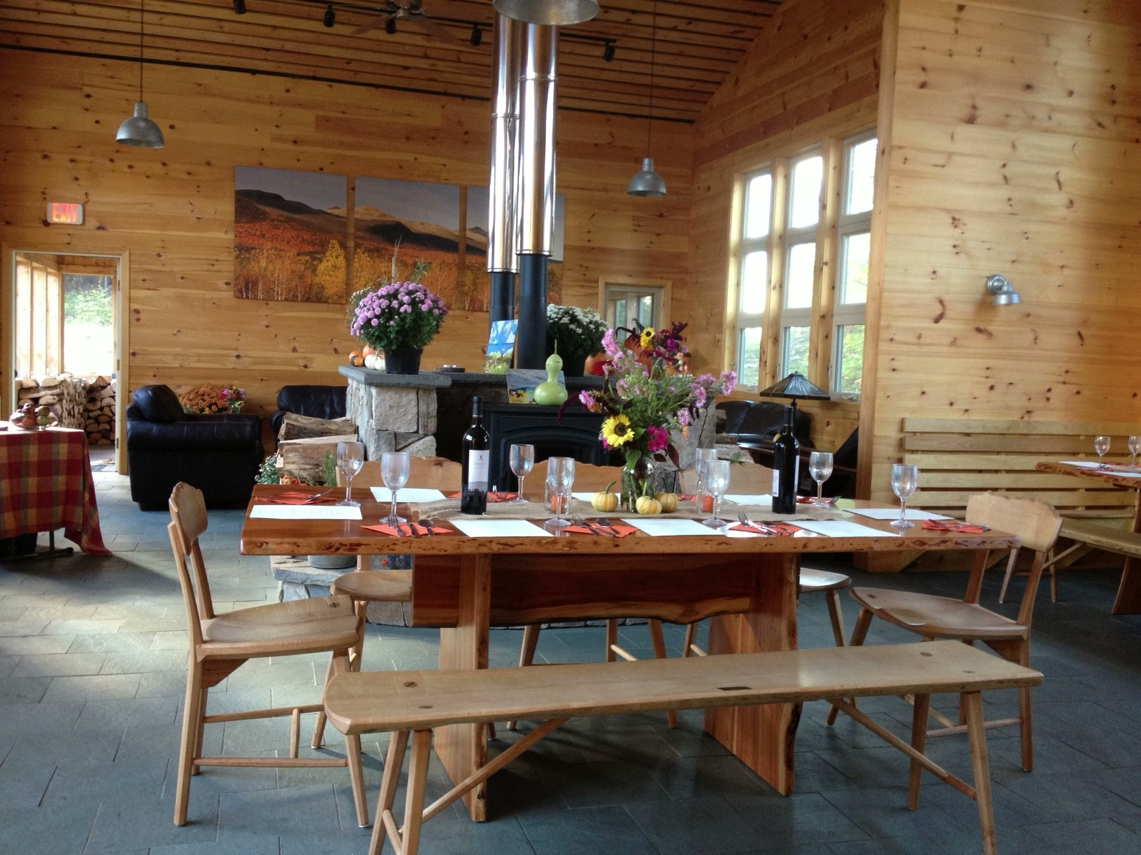 Maine Huts & Trails is celebrating Maine's harvest season with a farm-to-hut dining experience at the Stratton Brook Hut.  Credit: Maine Huts & Trails