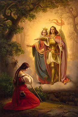 St. Michael and St. Margaret appearing to St. Joan of Arc