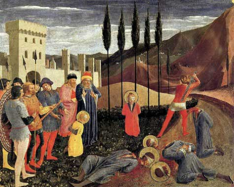 The beheading of Sts. Cosmas and Damian