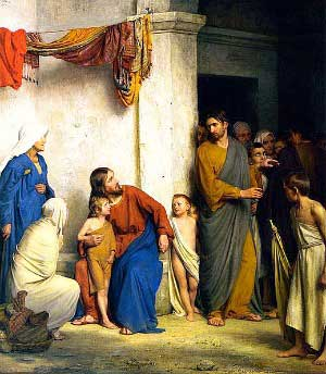 painting of Christ welcoming the children