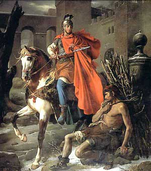 St. Martin of Tours cutting his cloak in half for a beggar.
