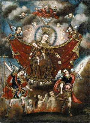 angels leading the poor souls out of purgatory under the direction of Our Lady of Mount Carmel, holding the child Jesus