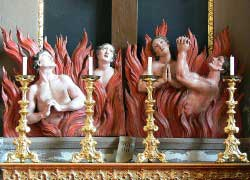 Altar of the Holy Cross (detail): Holy Souls in Purgatory.
