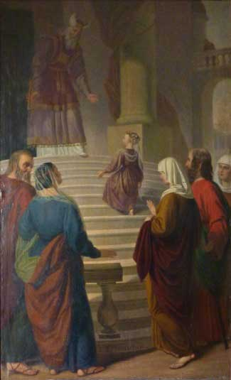 Painting-Our Lady ascending the steps of the Temple as a child