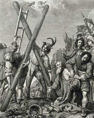 St. Andrew kneeling with arms open as they prepare his cross