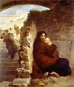painting of a woman hiding with her child while another woman with a child is being chased by Harod's men.