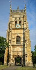 Large stone clock tower of Evesham Abbey, founded by St. Egwin