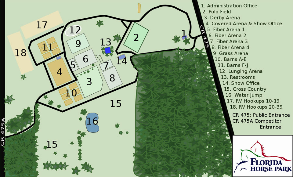 Map of the Florida Horse Park