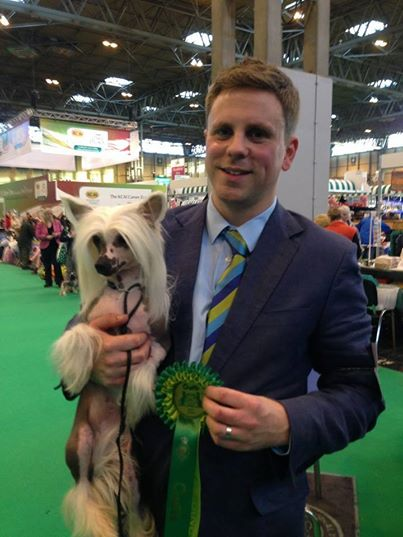 Cindy with Tom Isherwood at Crufts! Bitch CC and BOS to Kahlua