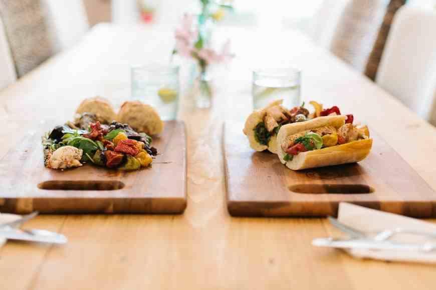 The Bistro: European Market Board with Hanger Steak and Mahi Mahi Baguette Sandwich