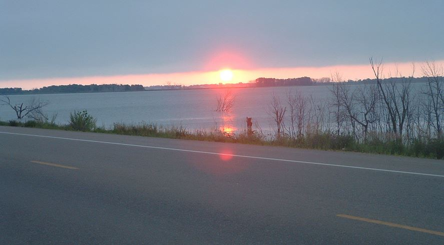 sunset over Devils Lake