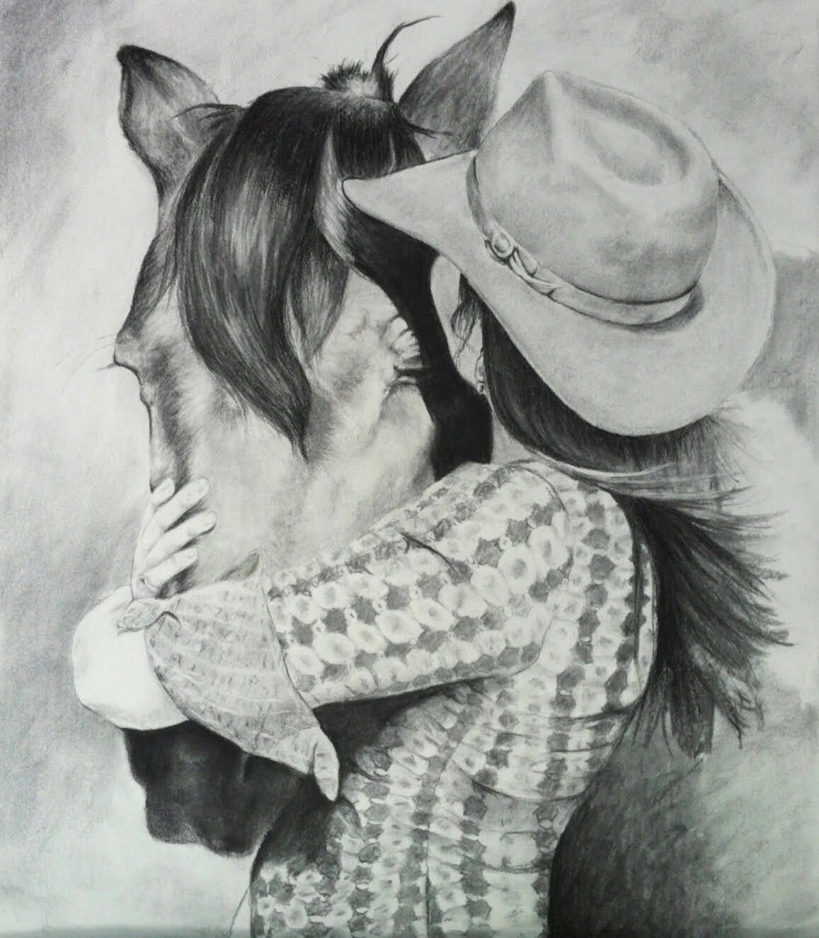 A drawing of Amitta kissing her horse by Jess Wiley