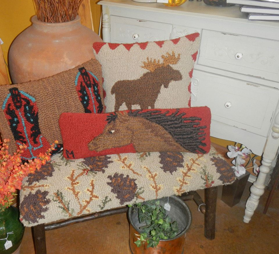 Hooked Pillows (Boots, Moose, and Horse)