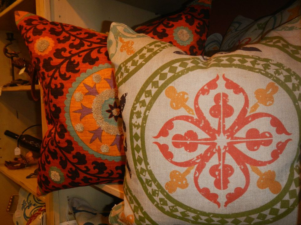 Linen and Down Pillows (Circle Patterns)