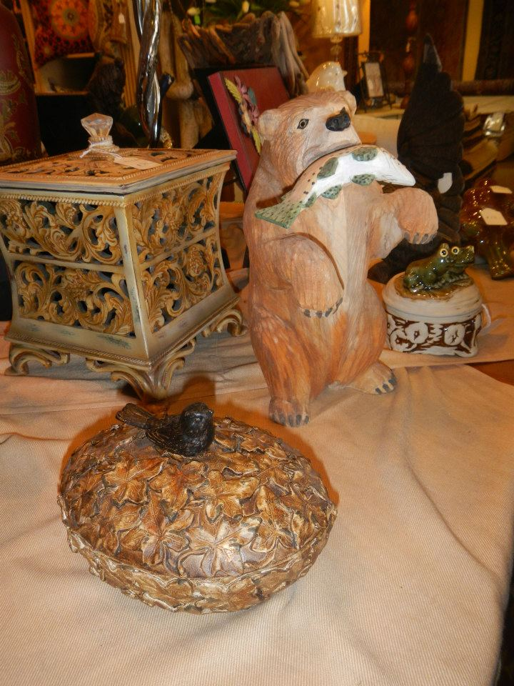 Home Accents (Box, Bird Dish, and Bear with Fish)