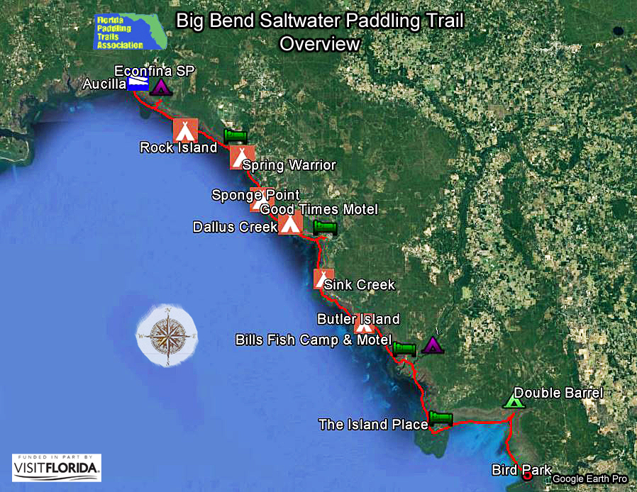 Florida saltwater circumnavigation paddling trail for Spring warrior fish camp