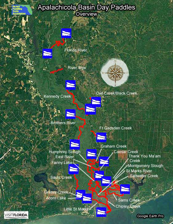 Florida Saltwater Circumnavigation Paddling Trail - Marks lake maps