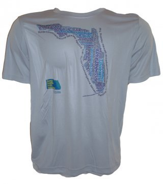 A word cloud of Florida waterways on the front of a white or ash performance tee. Short- and long-sleeve versions are available.