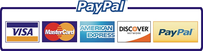 Paypal payment options Visa, Mastercard, American Express,