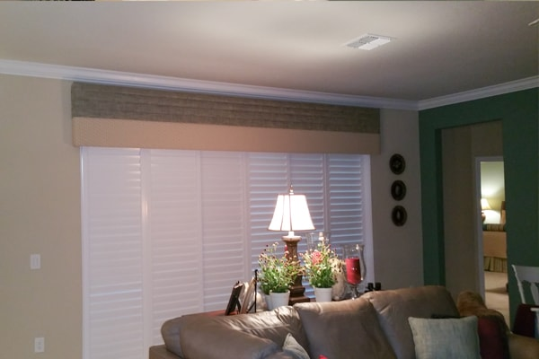 Image of custom shutters set up by Custom Fabric Creations