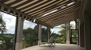 Image of a patio with sunsetter awnings and sunshades installed in the Ocala florida area