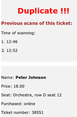 Scan result: Duplicate ticket message