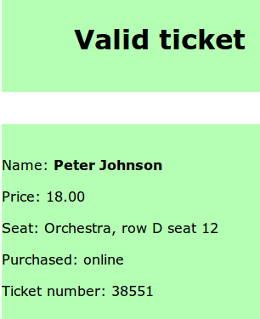 Scan result: Valid ticket message