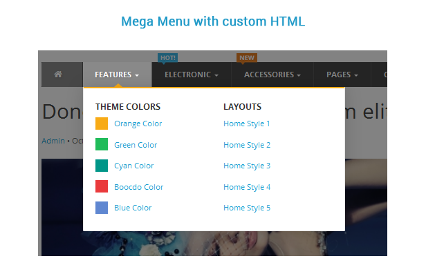 mega menu with custom html