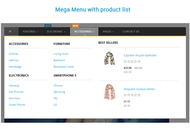 mega menu with product list