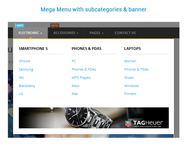 mega menu with subcategories and banner