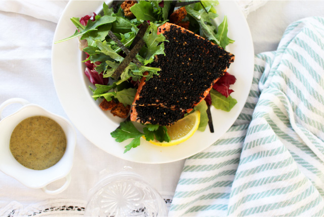 bump up the b12  lemon kale caesar with salmon and capers