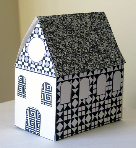 Free Printable Little Paper House : Black and White Patterns