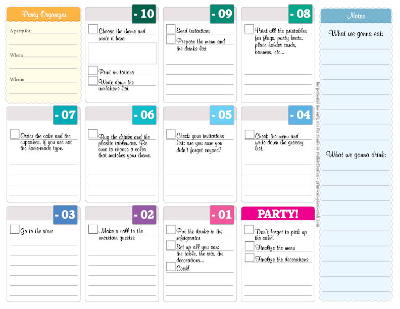 Free Printable Party Planner: Organize a Party in Ten Days!