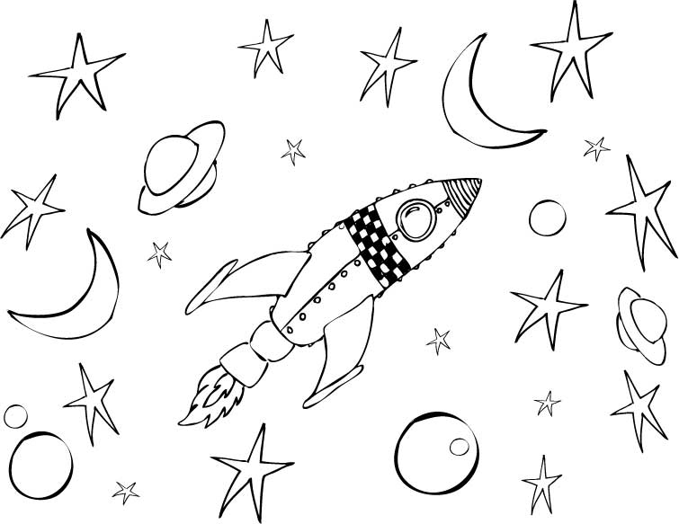 Space scene craft 3 2 1 blastoff print cut paste craft for Rocket coloring page