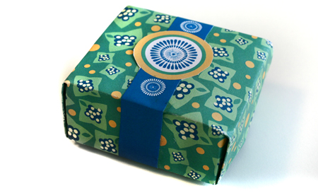 """Brazilian"" Small Gift/Favor Box: Blue, Green and Gold"