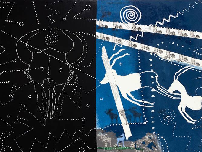 Sky Blue Deer With Buffalo