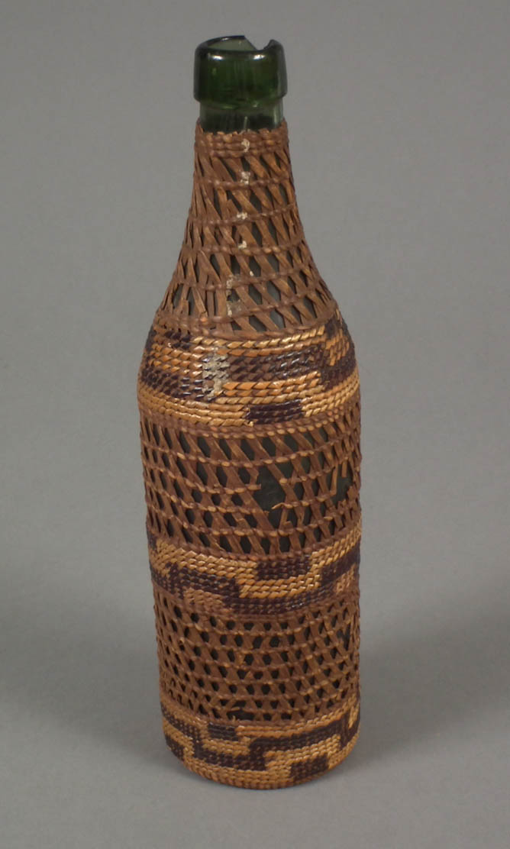 Basketry covered bottle