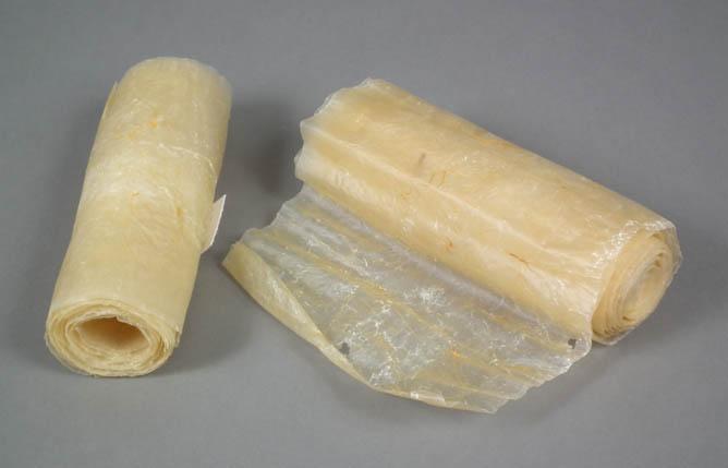 Rolls of processed intestine