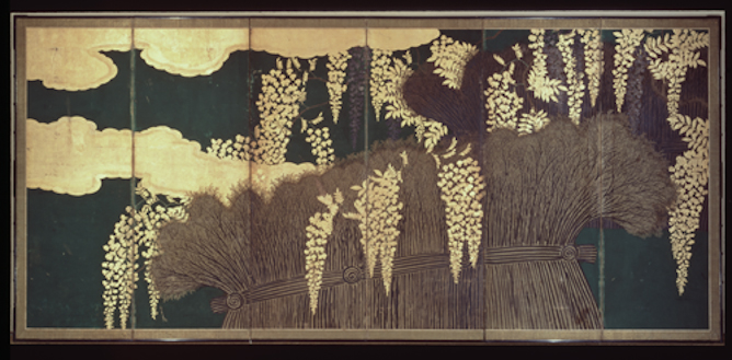 Screen with Wisteria and Fence