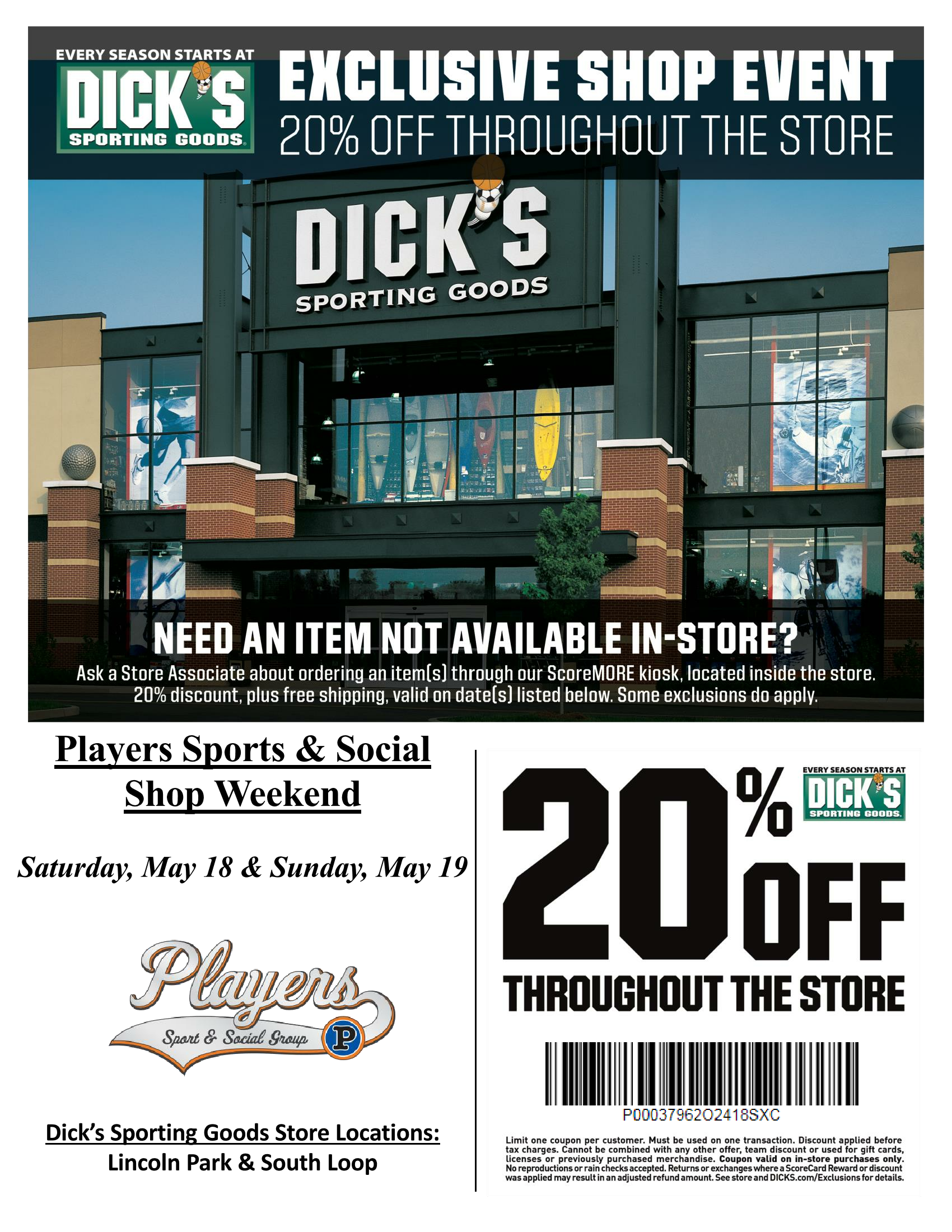 23cd3d9de7a Dick's Sporting Goods Exclusive Shop Event. Sat 5/18/19 thru Sun 5/19/19 -  20% Off @ Lincoln Park & South Loop locations!