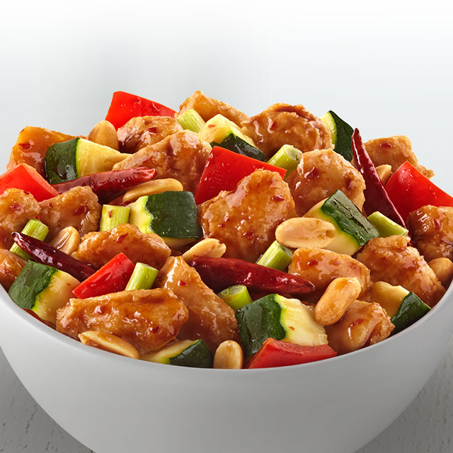 A Szechwan-inspired dish with chicken, peanuts and vegetables, finished with chili peppers.