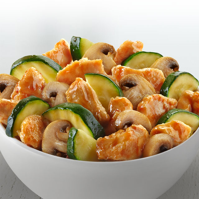 A delicate combination of chicken, mushrooms and zucchini wok-tossed with a light ginger soy sauce.